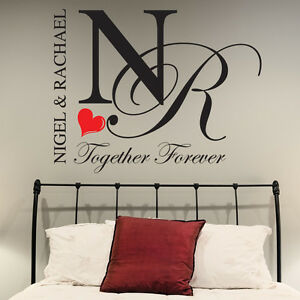 Bedroom wall stickers personalised together forever decals for Bedroom furniture quotes