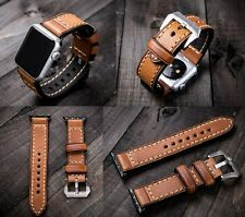 Brown Leather Watch Strap Band For Apple Watch 42mm Series 1 2 Black Silver