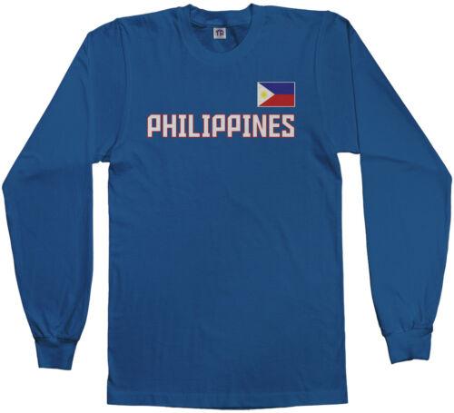 Threadrock Men/'s Philippines National Team Long Sleeve T-shirt manila flag