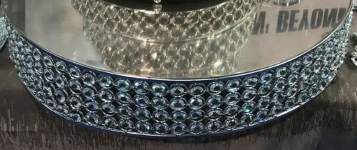 """Sparkle Glass Crystal Beaded 22/"""" Wide Round Cake Stand Wedding Event Party Decor"""