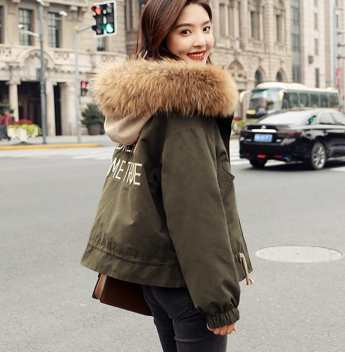 Womens Winter Fur Collar Hooded Short Coat BF Warm Cotton Padded Overcoat Down R