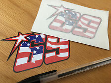 Nicky Hayden No69 American Flag Race Numbers (Small Pair)