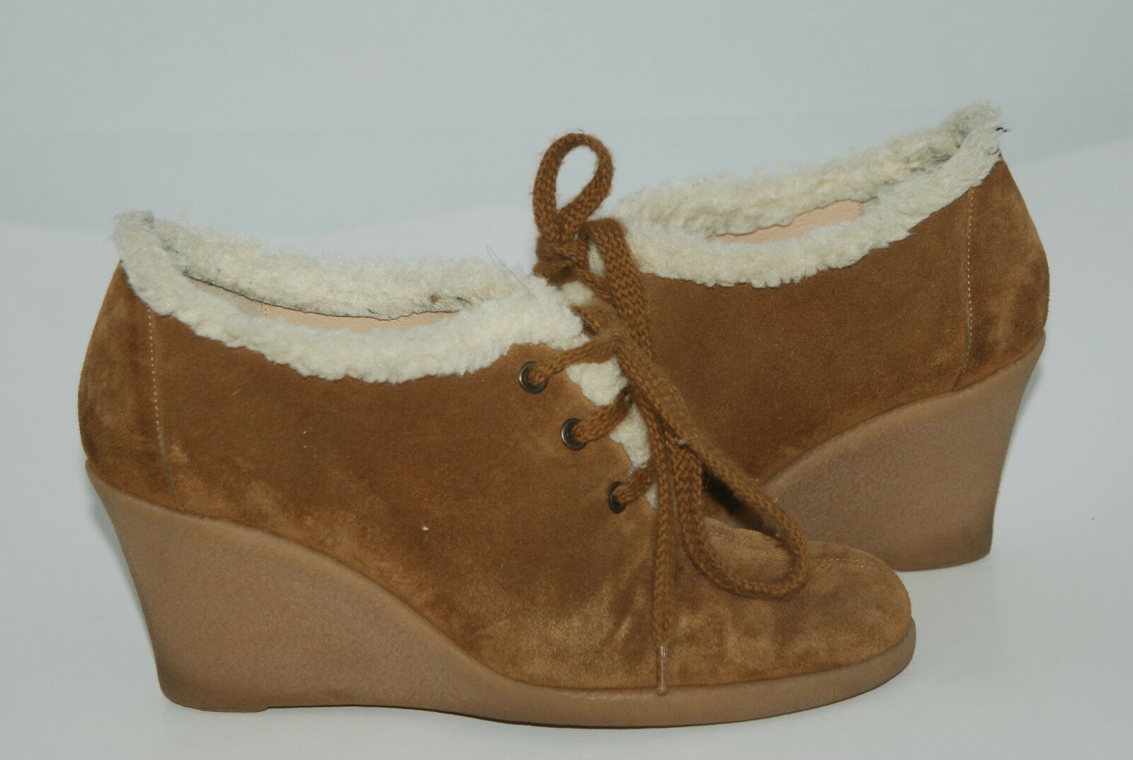 KORS MICHEAL TIE KORS 1 BROWN SUEDE TIE MICHEAL UP RUBBER SOLE BOOTIES SZ 7.5 239d1d
