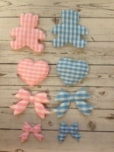 24 PINK /& BLUE BEAR HEART BOW GINGHAM MIX BABY CARD MAKING CRAFT EMBELLISHMENTS