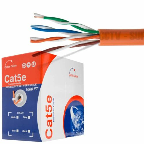 CAT5E CAT6 Cable 1000FT UTP Solid Network Ethernet CAT5 Bulk Wire RJ45 Lan