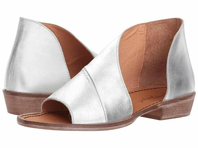 Free People Mont Blanc Womens Leather Open Toe Slide Sandal Silver Size 37, US 7