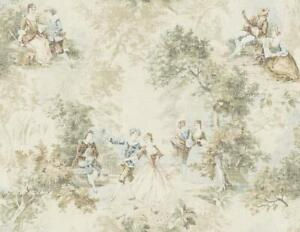 Wallpaper-Designer-French-Toile-Faux-Tapestry-Green-Blue-on-Distressed-Cream