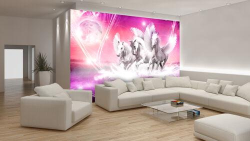 PAPIER Fototapete Fototapeten Tapeten Rosa Pferd Tier Kunst Mond Himmel 14N589P