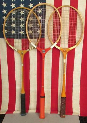 Sporting Goods Vintage Wood Badminton Racquets 3 Slazenger/hilton/signature Antique Wall Decor Badminton