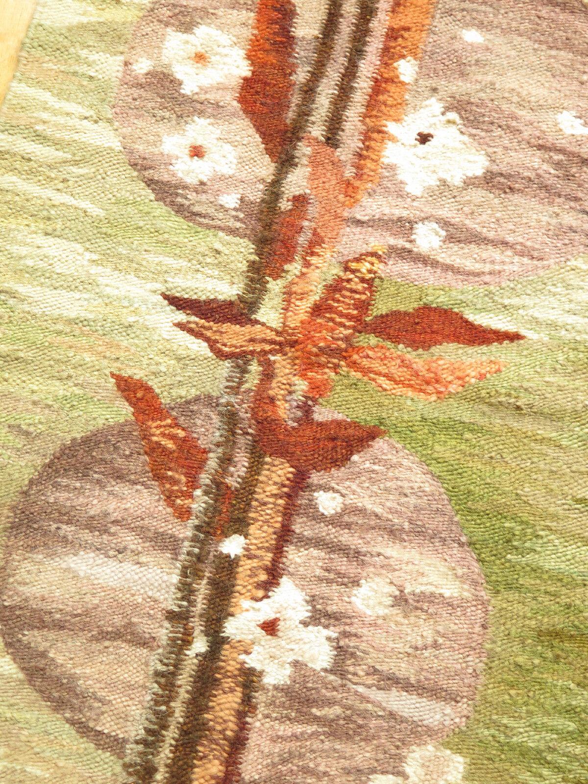 Vintage Polish HANDWOVEN HANDWOVEN HANDWOVEN WOOL KILIM  BOUQUET  61x87 cm   Tapestry Rug 1960s 165468