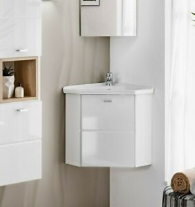 separation shoes a5e97 fdd69 Details about White Gloss Bathroom Cloakroom Corner Vanity Unit Basin Sink  Wall Cabinet Fink