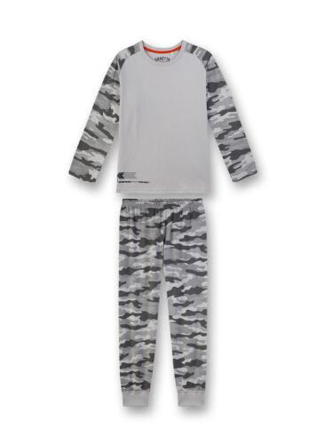 140-188 lang Kinder 2-tlg. Camouflage grau Sanetta Jungen Schlafanzug Set