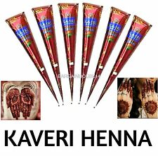 FRESH STOCK !! Box of 5 ORGANIC Dark Brown Henna Mehndi Cones Temporary Tattoo
