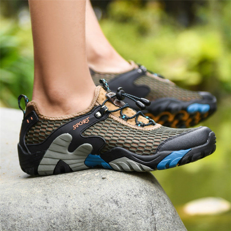 hommes Fashion Sneakers Breathable Mesh Hiking Climbing Chaussures Fishing Chaussures New Y
