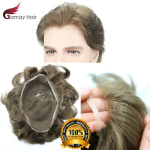 Completo Francese Swiss Pizzo Uomo Toupet Indiano Remy Umani Capelli Parrucca I