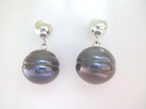 Sterling-Silver-11-12mm-Genuine-Peacock-Purple-Round-Pearl-Dangle-Earrings