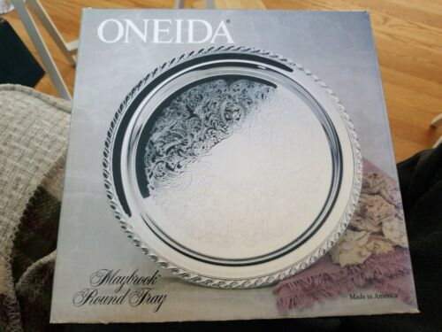 """New in box 10/"""" Round Silver Plate Serving Platter ONEIDA  Maybrook Round Tray"""