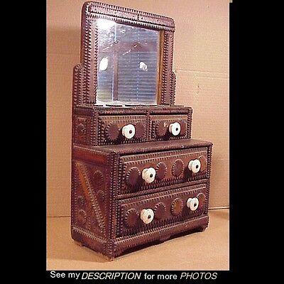Antique 1870 1900 Hand Carved Tramp Art Mirrored Dresser