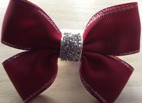 2 Filles Bordeaux//Wine /& silverhandmade Ribbon School hair bows//FERMOIRS//CLIPS