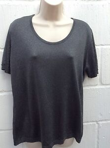 Ladies-Silver-Fleck-Charcoal-Grey-Black-Top-Size-14-Country-Casuals-large