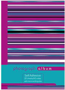 GRANDE spirale vincolati Autoadesivo Foto Album 20 Fogli - 40 lati-Viola A Righe  </span>