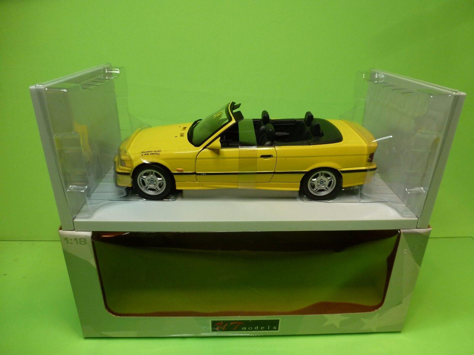 UT MODELS  20473 BMW  M3 CABRIOLET E36 - jaune 1 18 - EXCELLENT IN BOX  grosses soldes