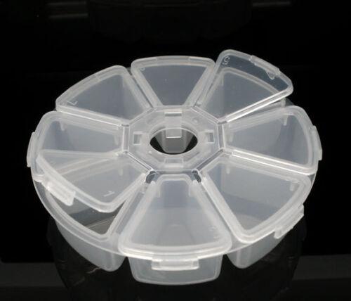 Großverkauf Rund 8Fächer Sortierbox Perlenbox Dosen f.Beads D.106mm