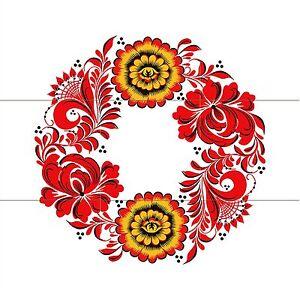 Russian folk art flower wreath Tile Mural Kitchen Backsplash Marble ...