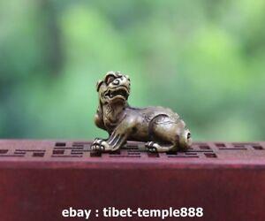 3 CM Chinese 100/% Pure Bronze Foo Dog Lion Kylin Wealth Animal Amulet Sculpture