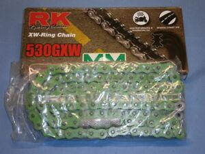 RK-XW-Ring-Kette-530-GXW-108-gruen-Motorradkette-Antriebskette-Rollenkette