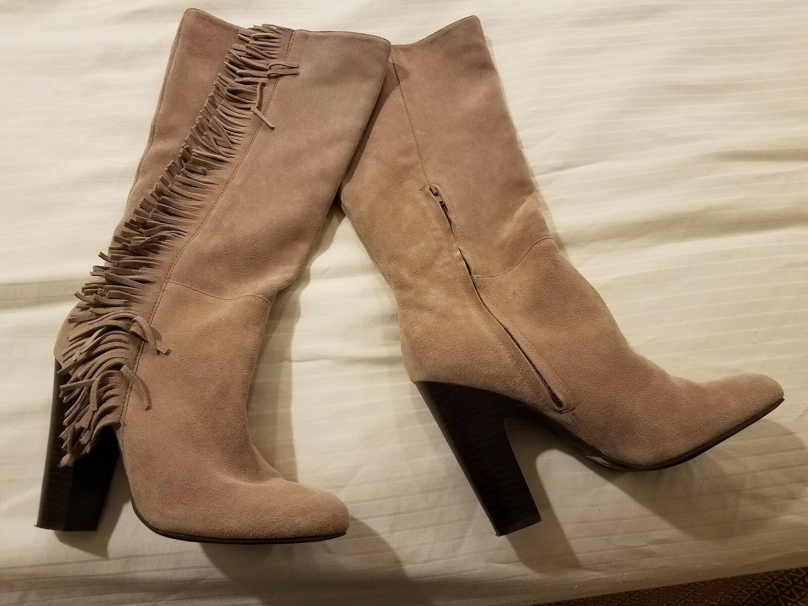 FRYE Women's Fringe Leather Suede Boots Iced Iced Iced Taupe Size 9M EUC a0666e