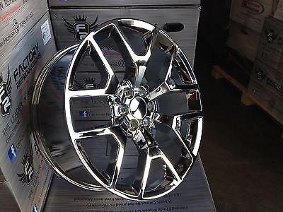"Set (4) 24"" Chrome GMC 1500 Sierra Denali Tahoe Chevy Silverado Wheels Rims"