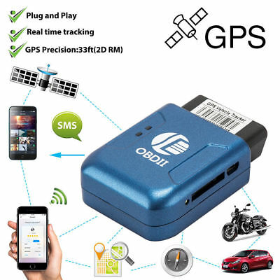 Blue Car Vehicle Truck OBDII OBD2 GPS Realtime Tracker Tracking Device SMS GPRS