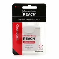 3 Pack Johnson&johnson Reach Dental Floss Cleanburst Of Sweet Cinnamon 55 Yds Ea on sale
