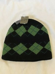 OTB-Reversible-Acrylic-Green-Black-Knitted-Warm-Winter-Ski-Hat-NEW-NWT