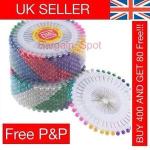 Multi-Colour-PEARL-Bead-PIN-Rosette-Hijab-Craft-Dress-Maker-Sewing-Scarf-Tailor