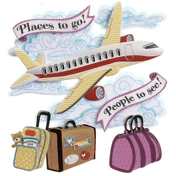 Sandylion Essentials TRAVEL-PLANE Stickers 3D VACATION PASSPORT LUGGAGE NEW