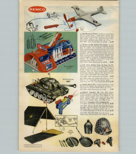 1959 PAPER AD Remco Toy Yankee Doodle Rocket Test Center US Army Bulldog Tank