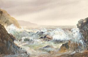 Ron-Evans-Signed-Contemporary-Watercolour-Dramatic-Coastal-Landscape