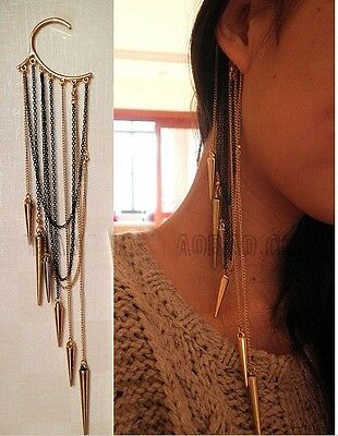 Retro Fashion Punk Gothic Long Rivet Tassels Ear Cuff No Ear Hole Earring 1PC