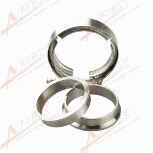 """2.75/"""" V-Band Vband Clamp CNC Stainless Steel Flange Flanges Kit Turbo Downpipe"""