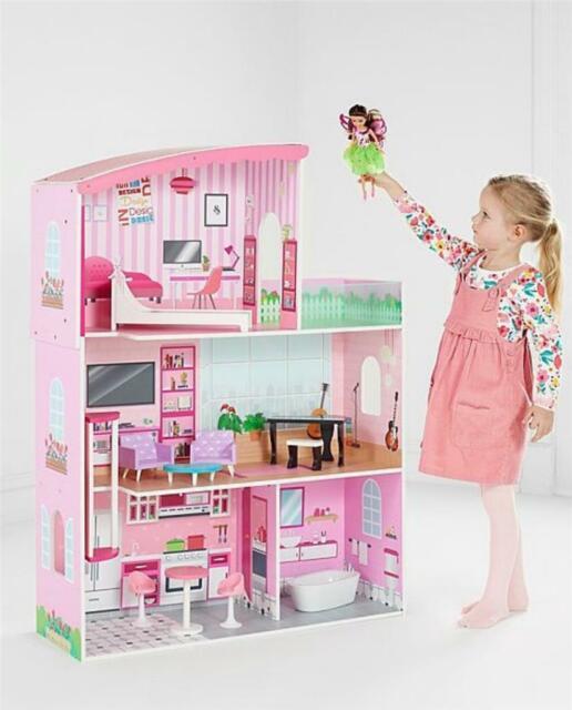 Barbie Estate Three Storey Doll Town House Playset w Furniture Girls Toy Gift UK