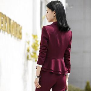 a53129f514 Dettagli su Tailleur completo donna rosso giacca a manica lunga e pantalone  slim cod 7152