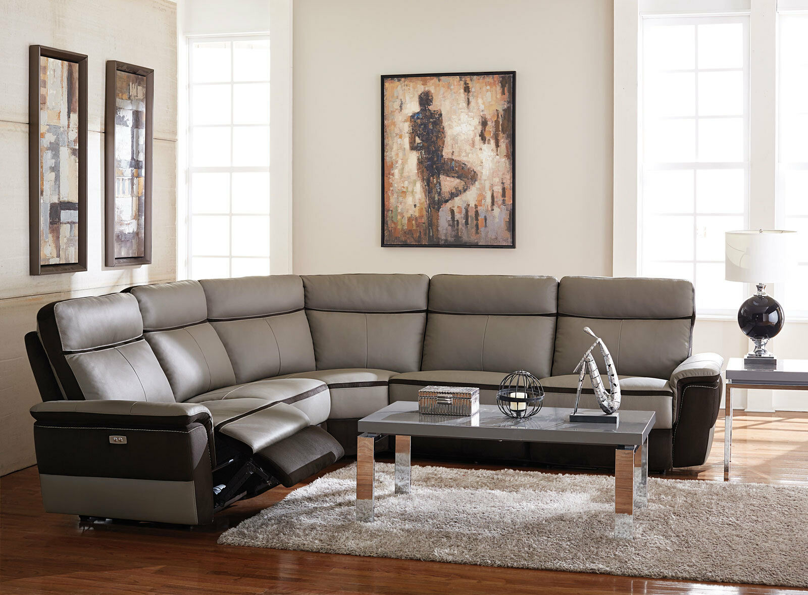 Living Room Modular Sectional Gray Leather Power Recliner 5 Pieces Sofa Set If62