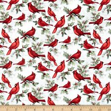 Christmas Fabric Winter Birds Susan Winget Peace Joy Springs YARD