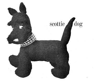 Knitting Pattern- Lovely Vintage Scottie Dog Pattern in DK wool- measures 8 x10.