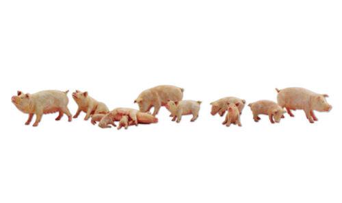 """N Woodland Scenics A2218 Figuren-//Tier-Set /""""Yorkshire Pigs/"""" Schweine neu OVP"""
