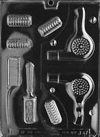 Beautician - Blow Dryer, Rollers, Brush, Comb Chocolate Mold - J047