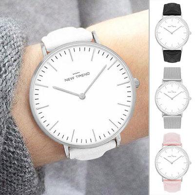 PräZise Damenuhr Weiß Silber Herrenuhr Damen Uhr Armbanduhr Metallarmband Edelstahl Grau