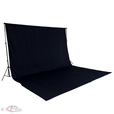 Professional Photo Studio + Backdrop 6x3m black + Stand Support Photography Set